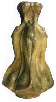 Vase Femme-fleur - Gr&egrave;s blanc &eacute;maill&eacute; Mougin Paris <br/>3 exemplaires - H: 80cm - Valeur : 30000&euro;<br/>ex. collection CORBIN
