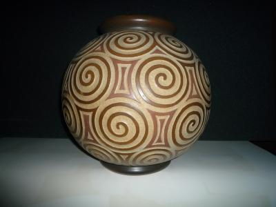Vase boule décor oriental<br/>H: 35cm - Valeur 4000€