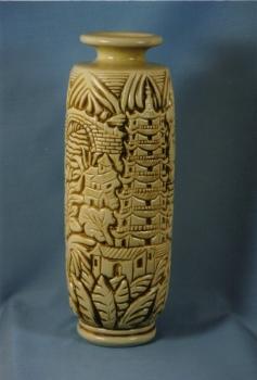 Vase - A.goor - Grès blanc émaillé<br/>Valeur : 4500€