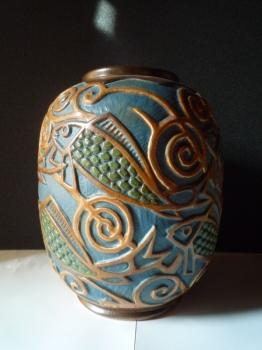 Vase aux poissons<br/>H: 30cm - Valeur 4000€